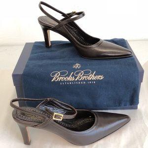 """EUC Brooks Brothers 6 1/2 leather slingback 3""""heel"""